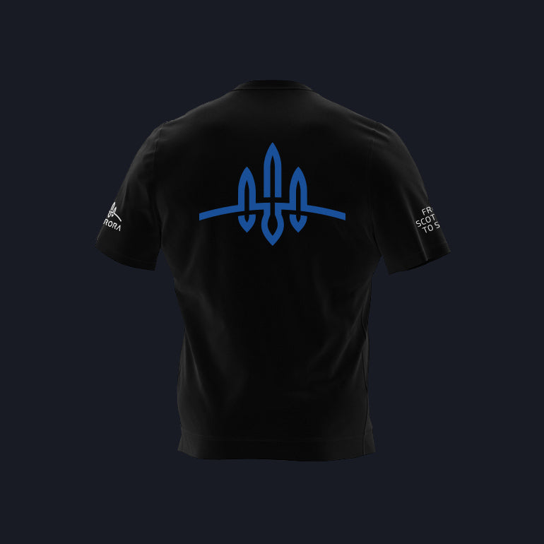 Load image into Gallery viewer, Black Skyrora T-Shirt with Blue Skyrora Logo
