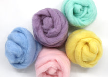 Load image into Gallery viewer, Lunchbox - Corriedale Carded Roving Color Pack - Spinning Fiber Roving - Pastel Fiber - Mini Skein Pack for Spinning Felting Weaving