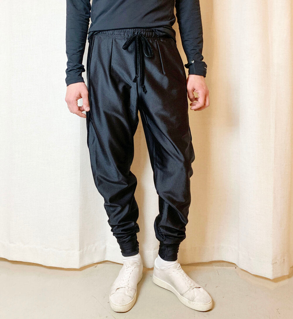 Black Sweatpants with Velvet Piping and Drawstring