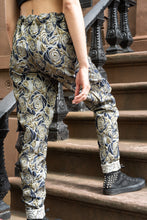 Load image into Gallery viewer, Gold Floral Brocade Cargo Pants (reversible)