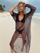 Load image into Gallery viewer, Lace Kaftan with Red Polka Dots