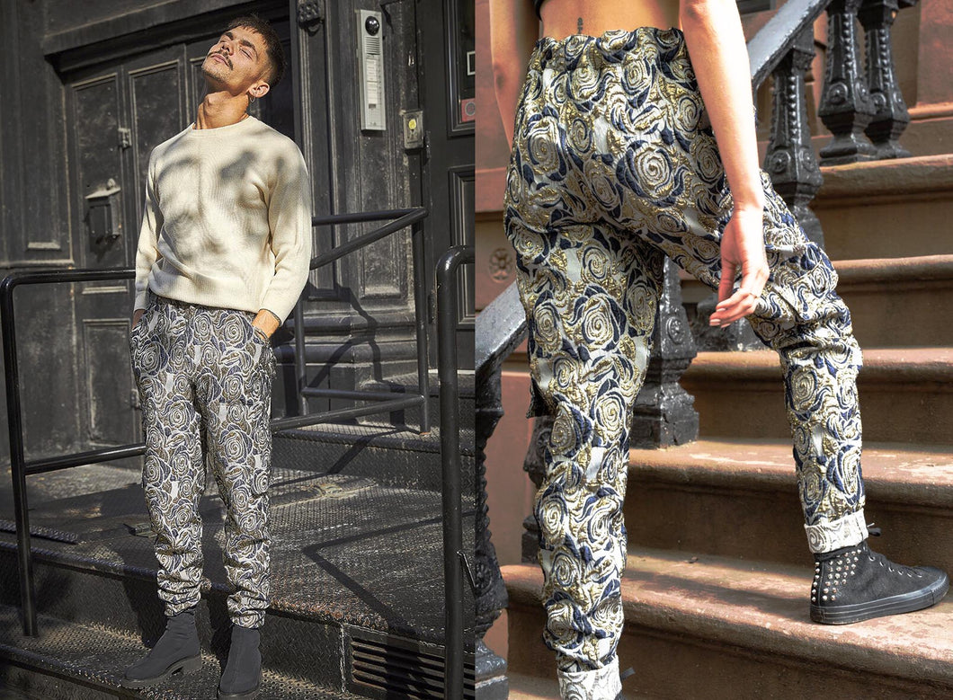Gold Floral Brocade Cargo Pants (reversible)