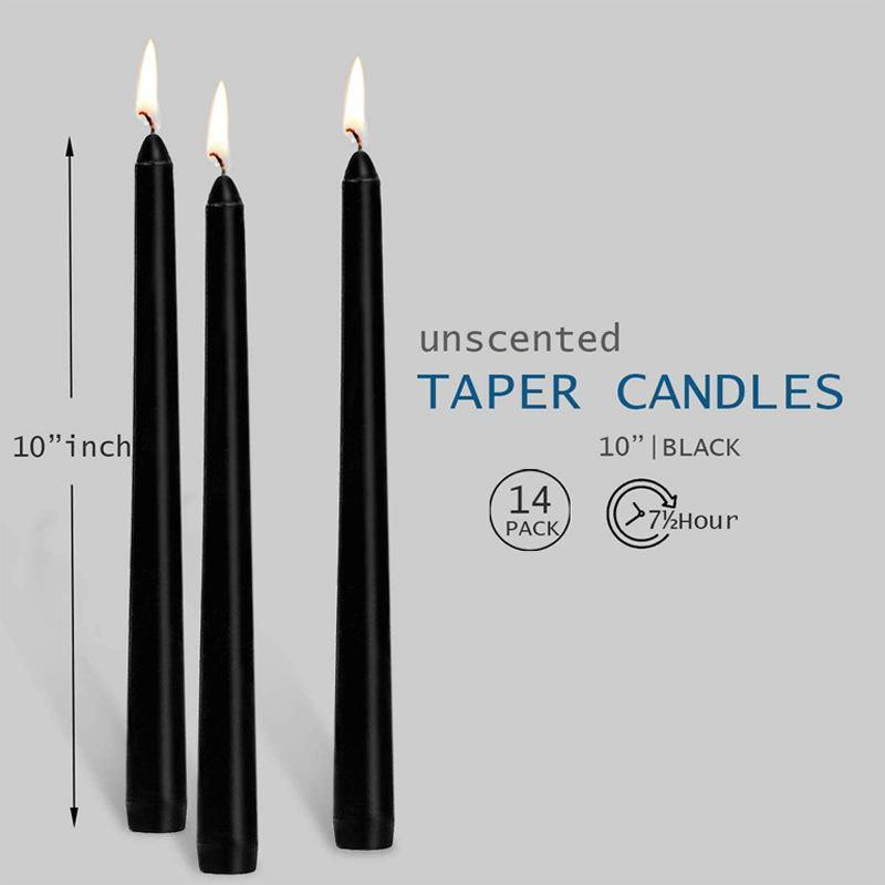 Black Taper Candles 10 Inches Tall - Garden Plus