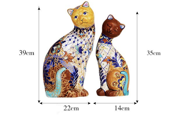 High-end Retro Handmade Ceramic Cat Ornaments