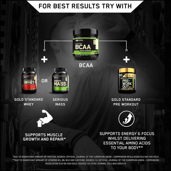 Optimum Nutrition 5000 Powder Branched Chain Amino Acids with L-Leucine,  L-Isoleucine and L-Valine, Unflavoured Muscle Building and Recovery  Supplements, 60 Servings, 345 g : Megapump