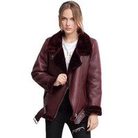 She is A Rock Star Faux Leather Fur Sheepskin Women's Coat