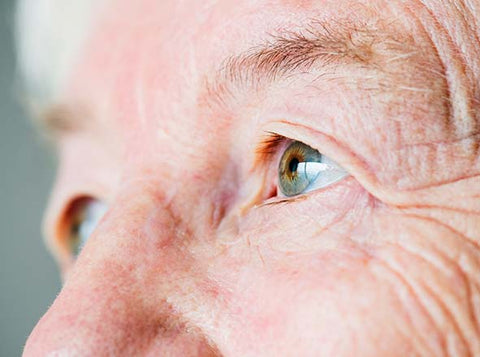 Close up of elderly person's eyes
