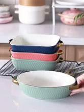 Load and play video in Gallery viewer, *Pre-Order* Ceramic bakeware with Gold Handles