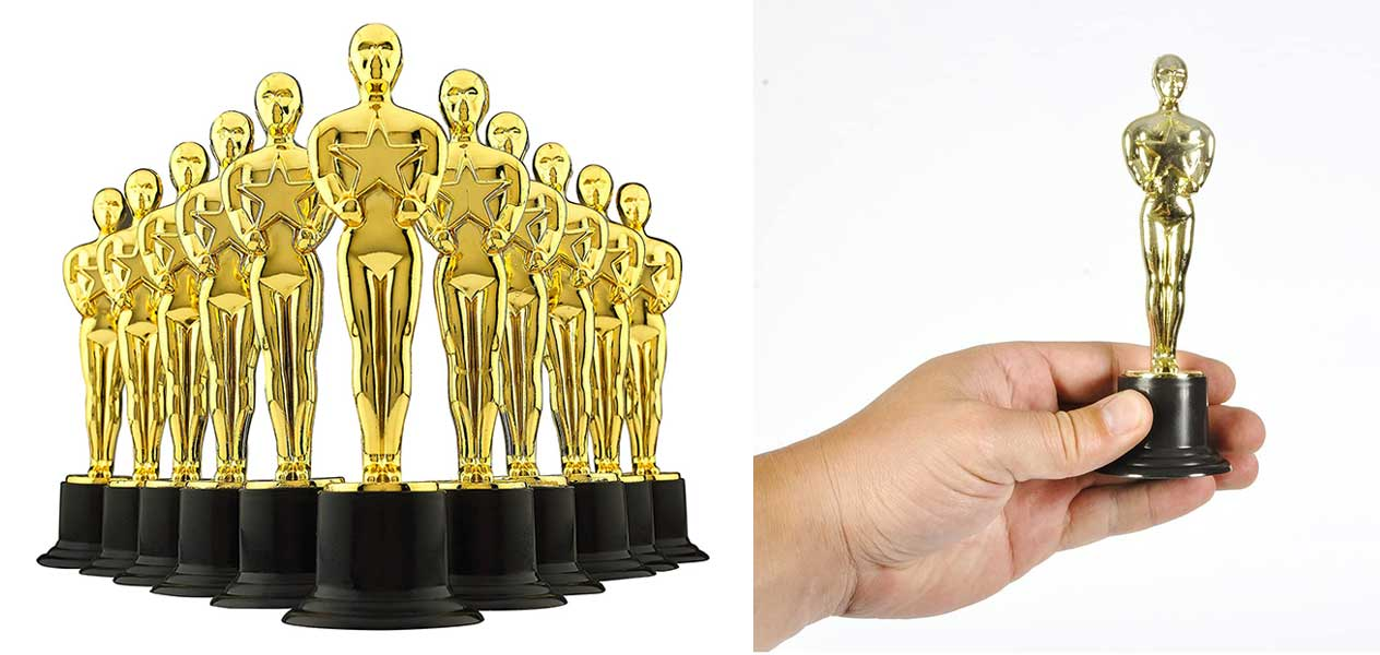 """6"""" Gold Award Trophies - Pack of 12 Bulk Golden Statues Party Award Trophy, Party Decorations and Appreciation Gifts by Bedwina"""