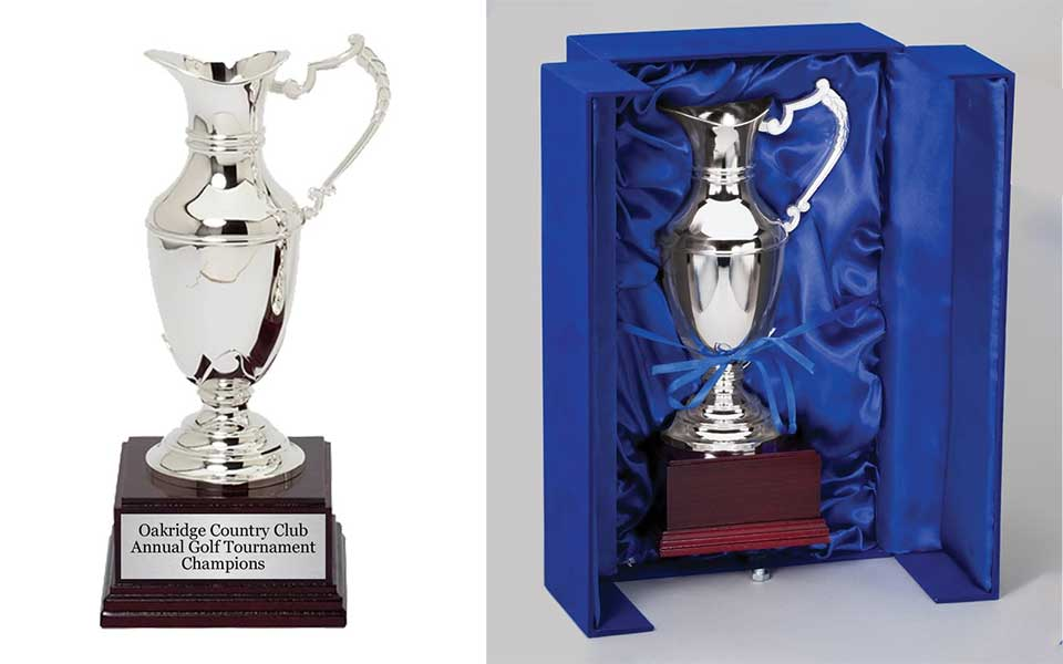 Claret Jug Replica Trophy with 4 custom lines of text