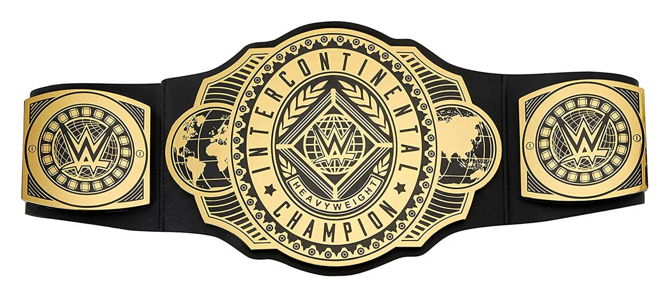 WWE Intercontinental Championship Title Belt Featuring Authentic Styling, Metallic Medallions, Leather-Like Belt & Adjustable Feature That Fits Waists of Kids 8 and Up