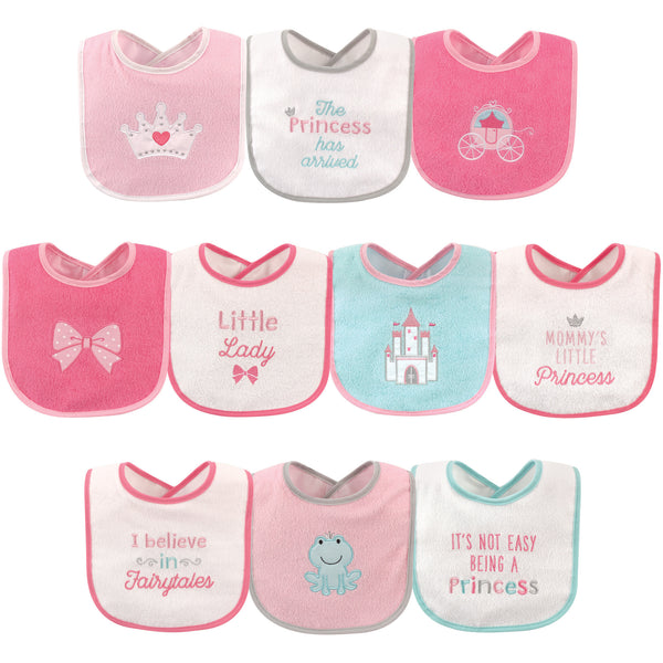 Luvable Friends Cotton Terry Drooler Bibs with PEVA Back, Princess