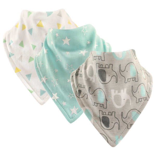 Luvable Friends Cotton Bandana Bibs, Basic Elephant