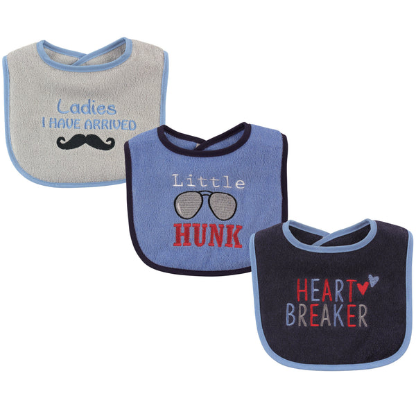 Luvable Friends Cotton Drooler Bibs with Fiber Filling, Hunk