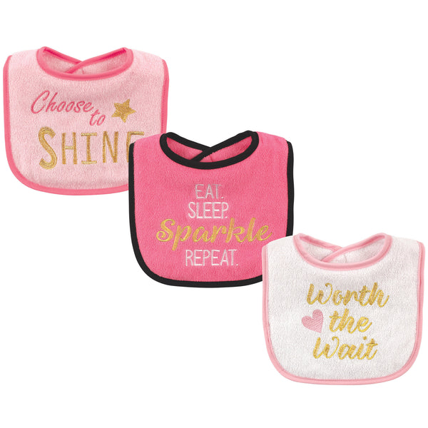 Luvable Friends Cotton Drooler Bibs with Fiber Filling, Sparkle