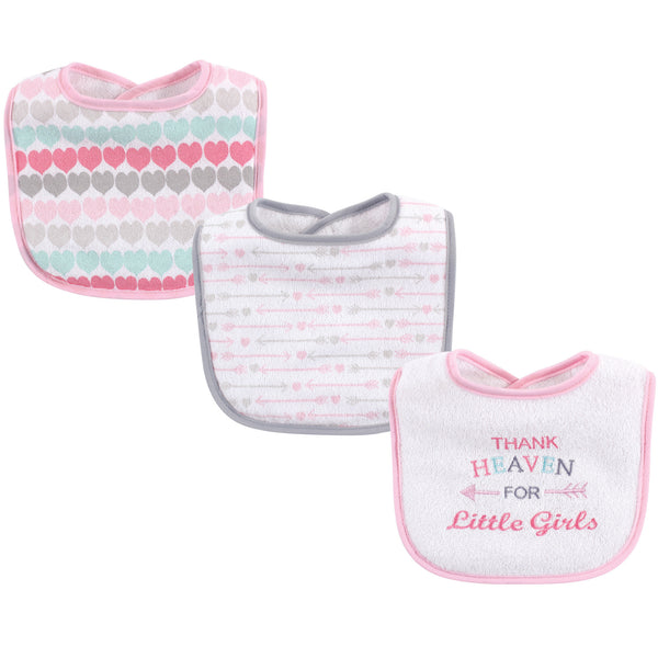 Luvable Friends Cotton Drooler Bibs with Fiber Filling, Girl Thank Heaven