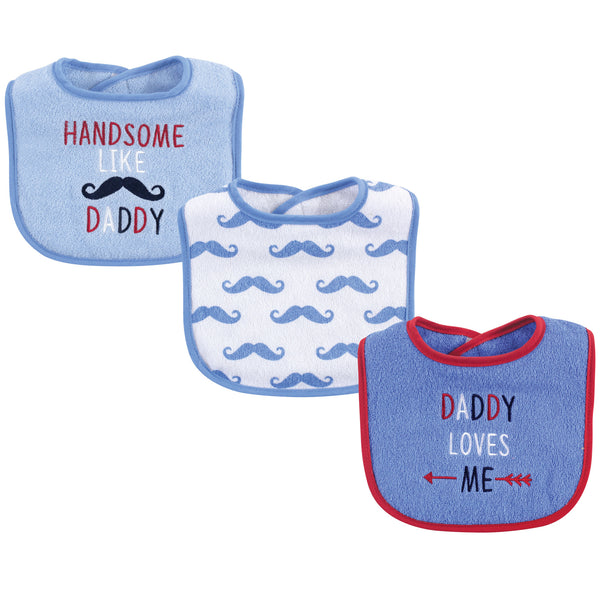 Luvable Friends Cotton Drooler Bibs with Fiber Filling, Boy Daddy