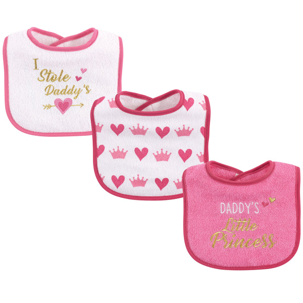 Luvable Friends Cotton Drooler Bibs with Fiber Filling, Girl Daddy