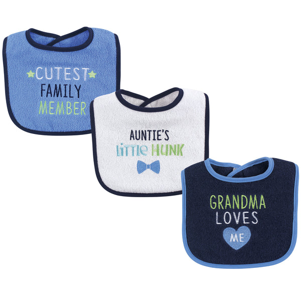 Luvable Friends Cotton Drooler Bibs with Fiber Filling, Boy Family