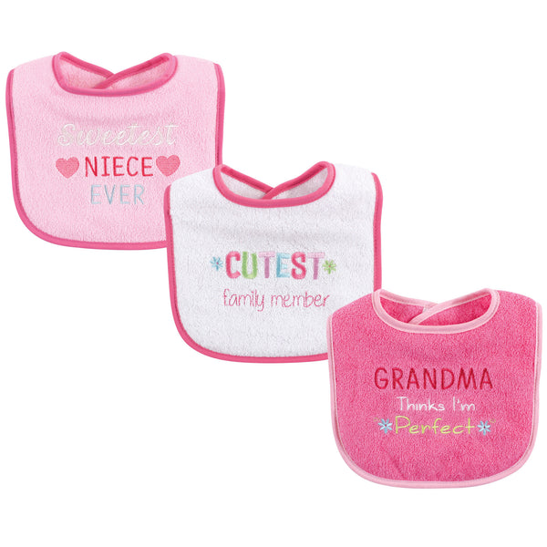 Luvable Friends Cotton Drooler Bibs with Fiber Filling, Girl Family