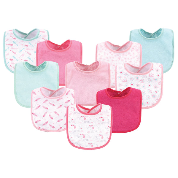 Luvable Friends Cotton Terry Bibs, Girl Elephant Damask