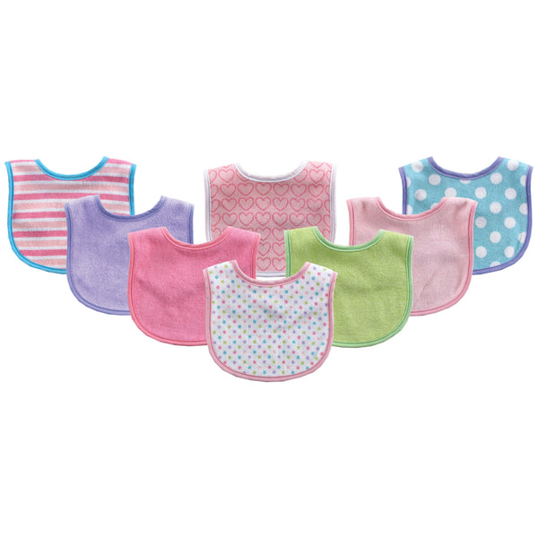 Luvable Friends Cotton Terry Bibs, Pink