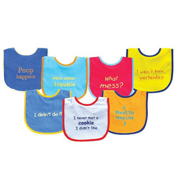 Luvable Friends Cotton Terry Drooler Bibs with PEVA Back, Blue Food