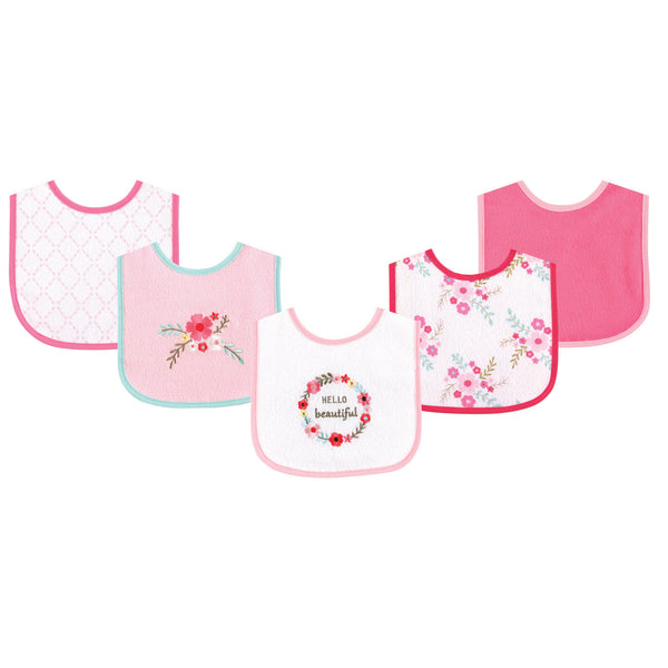 Luvable Friends Cotton Terry Drooler Bibs with PEVA Back, Floral