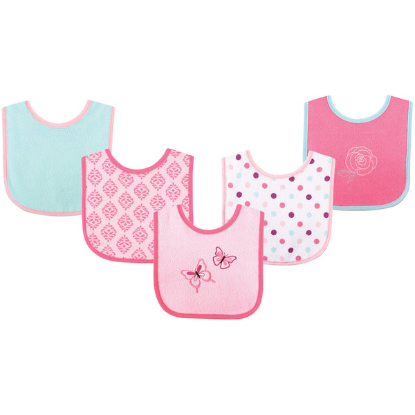 Luvable Friends Cotton Terry Drooler Bibs with PEVA Back, Butterfly