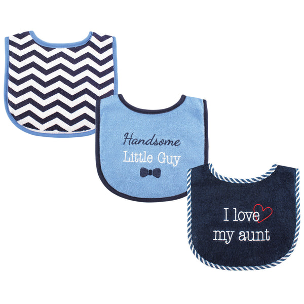 Luvable Friends Cotton Drooler Bibs with Fiber Filling, Boy Aunt