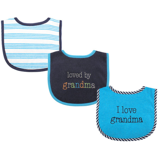 Luvable Friends Cotton Drooler Bibs with Fiber Filling, Boy Grandma