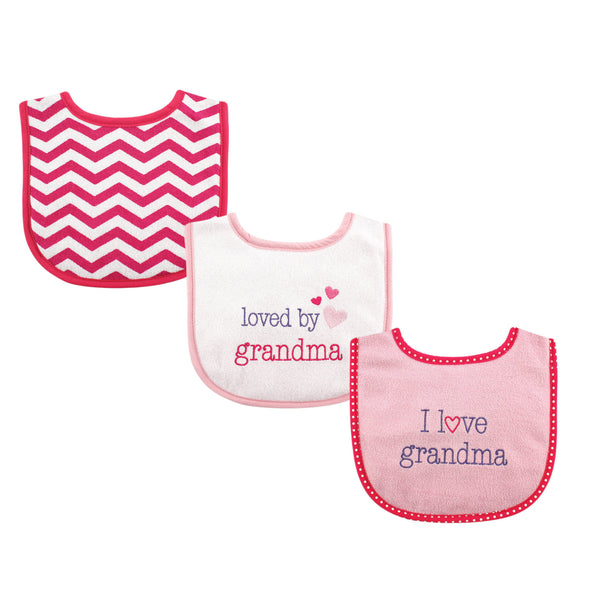 Luvable Friends Cotton Drooler Bibs with Fiber Filling, Girl Grandma