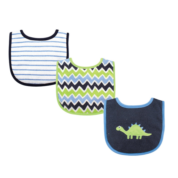 Luvable Friends Cotton Drooler Bibs with Fiber Filling, Dinosaur