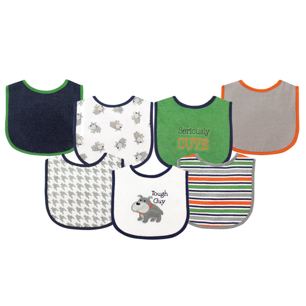 Luvable Friends Cotton Terry Drooler Bibs with PEVA Back, Dog