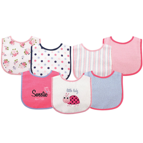 Luvable Friends Cotton Terry Drooler Bibs with PEVA Back, Ladybug