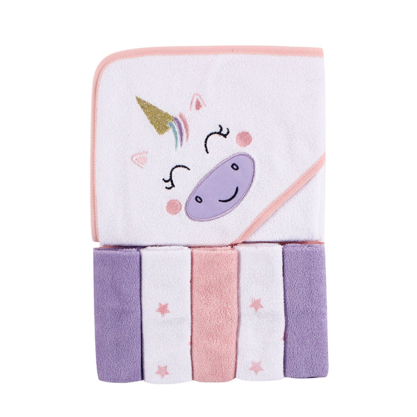 Luvable Friends Hooded Towel with Five Washcloths, Unicorn