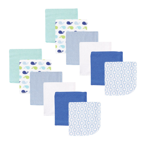 Luvable Friends Cotton Rich Washcloths, Boy Whale
