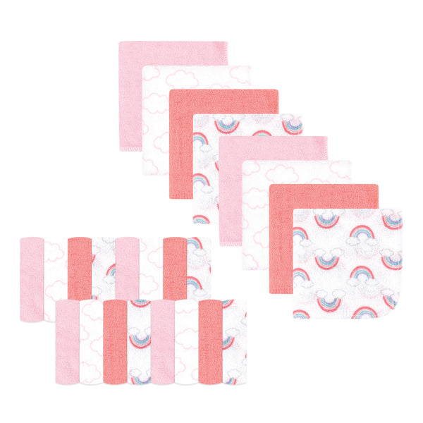 Luvable Friends Super Soft Bundle Washcloths, Pink Clouds