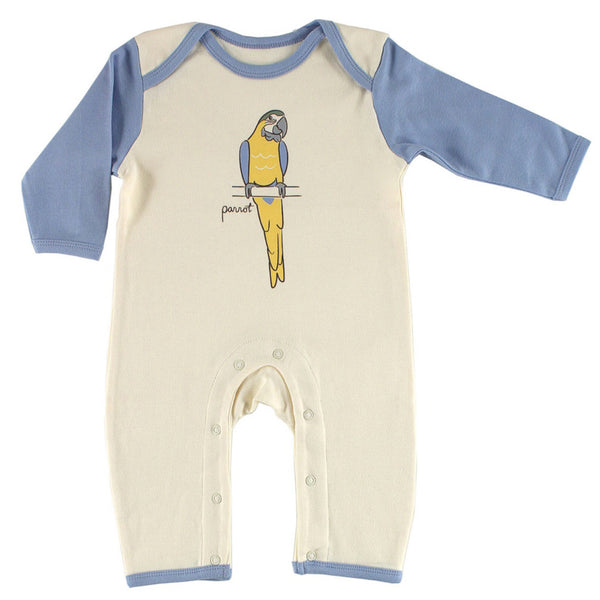 Touched by Nature Organic Cotton Coveralls, Parrot 1-Pack