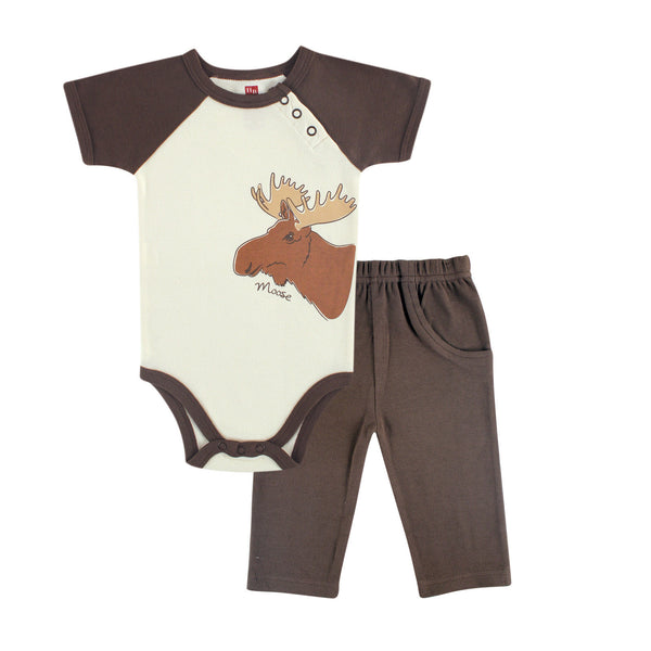 Touched by Nature Organic Cotton Bodysuit and Pant Set, Moose