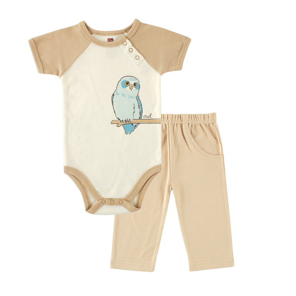 Touched by Nature Organic Cotton Bodysuit and Pant Set, Owl