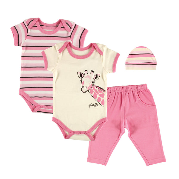 Touched by Nature Organic Cotton Bodysuit and Pant Set, Giraffe 4-Piece