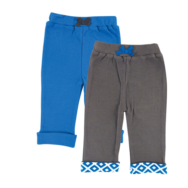 Yoga Sprout Cotton Pants, Blue Elephant