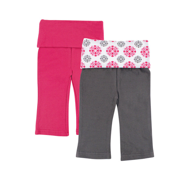 Yoga Sprout Cotton Pants, Pink Medallion
