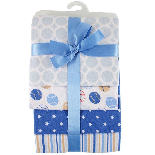 Hudson Baby Cotton Flannel Receiving Blankets, Blue Baseball