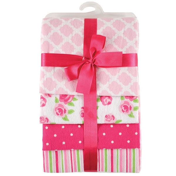 Hudson Baby Cotton Flannel Receiving Blankets, Pink Rose