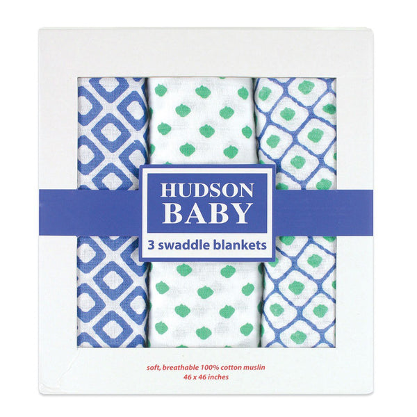 Hudson Baby Cotton Muslin Swaddle Blankets, Blue Dots