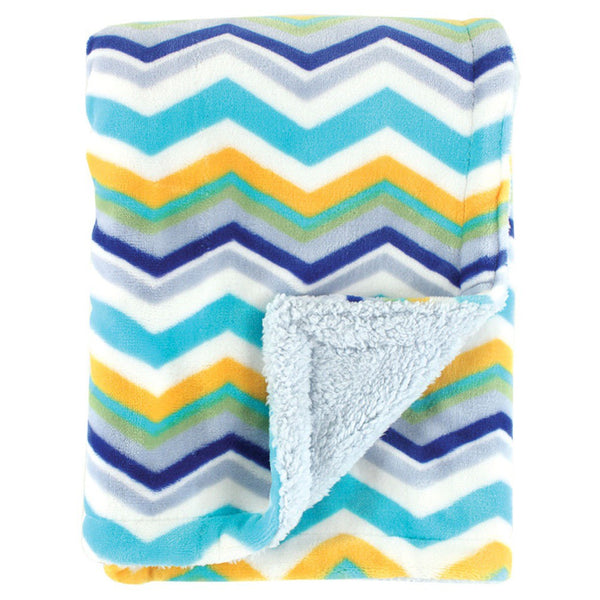 Hudson Baby Plush Blanket with Sherpa Back, Blue