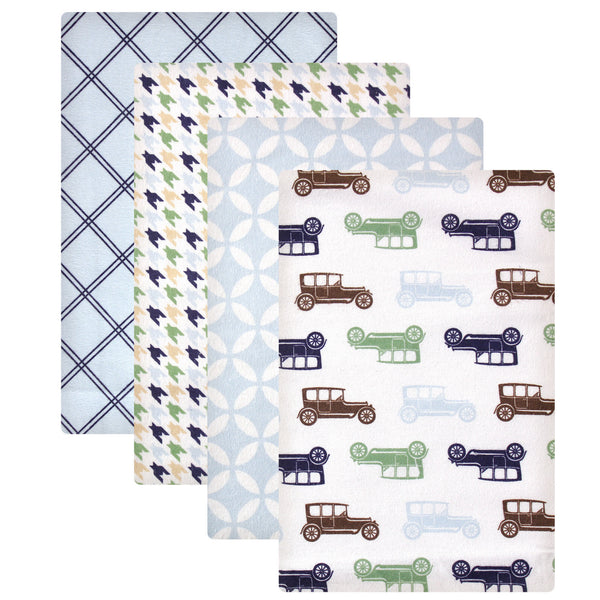 Hudson Baby Cotton Flannel Receiving Blankets, Blue Cars