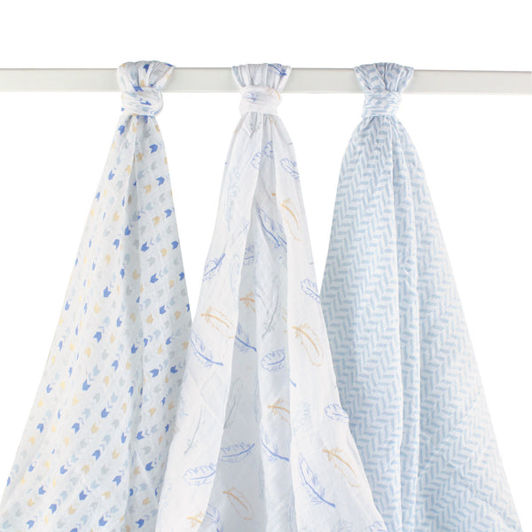 Hudson Baby Cotton Muslin Swaddle Blankets, Blue Feather
